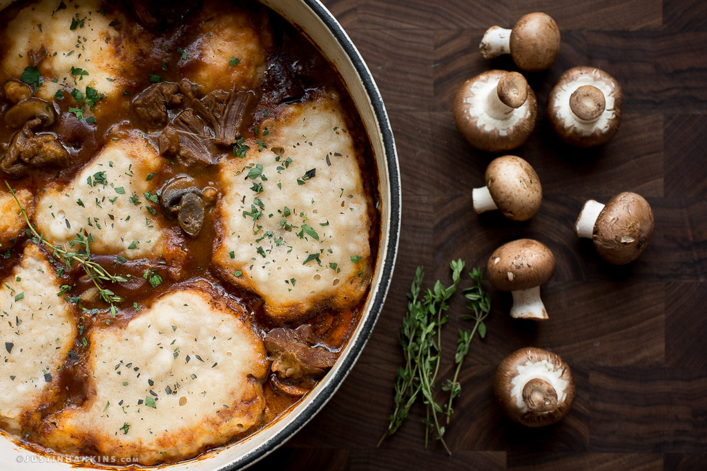 Gandy Dancer Beef Stew with Cheddar Herb Dumplings