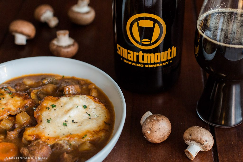 Irish Stout Beef Stew with Cheddar Herb Dumplings